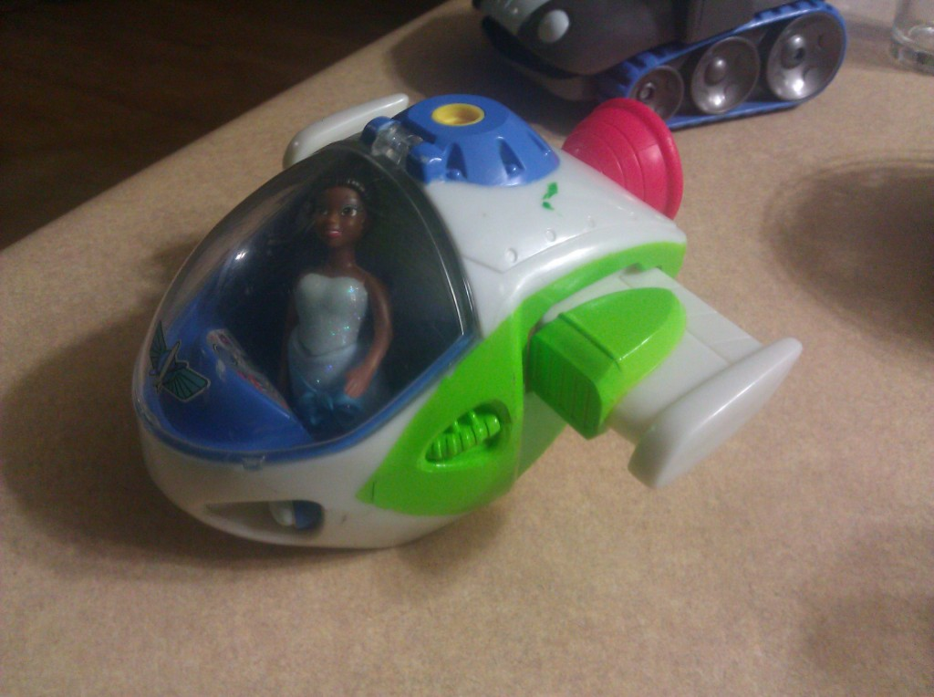 Tiana in Buzz Lightyear's spacecraft